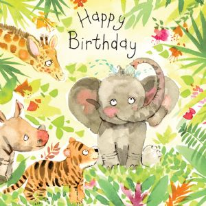 FIZ21 - Happy Birthday Card Elephant